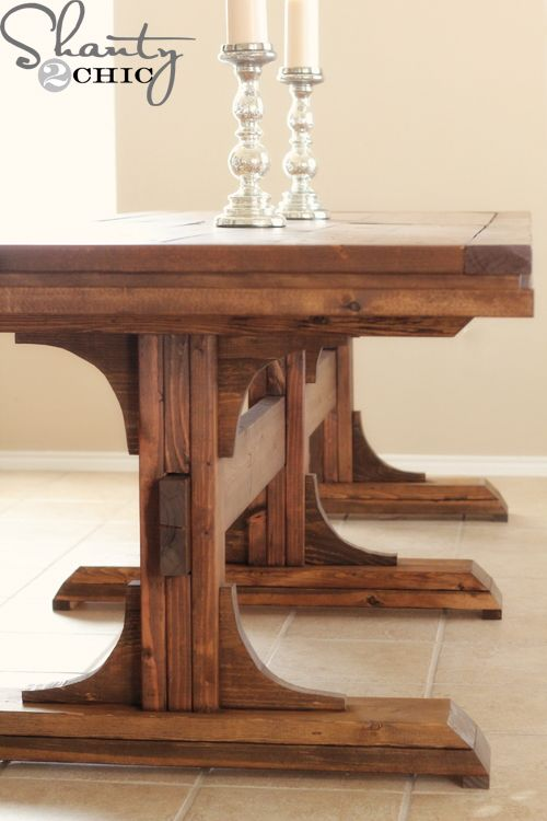 DIY Dining Table Triple Pedestal Farmhouse