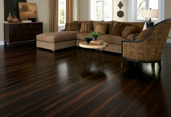 Dark Brown Laminate Flooring In Living Room With Smoth