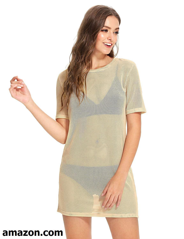 Makemechic Women S Short Sleeve See Through Sheer Mesh T Shirt Dress Mesh T Shirt T Shirt Dress Khaki Dress [ 1500 x 1154 Pixel ]
