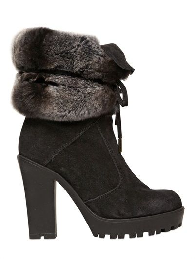 4a3996962462 SERAFINI ETOILE - 100MM SUEDE   LAPIN FUR BOOTS - LUISAVIAROMA - LUXURY  SHOPPING WORLDWIDE SHIPPING - FLORENCE