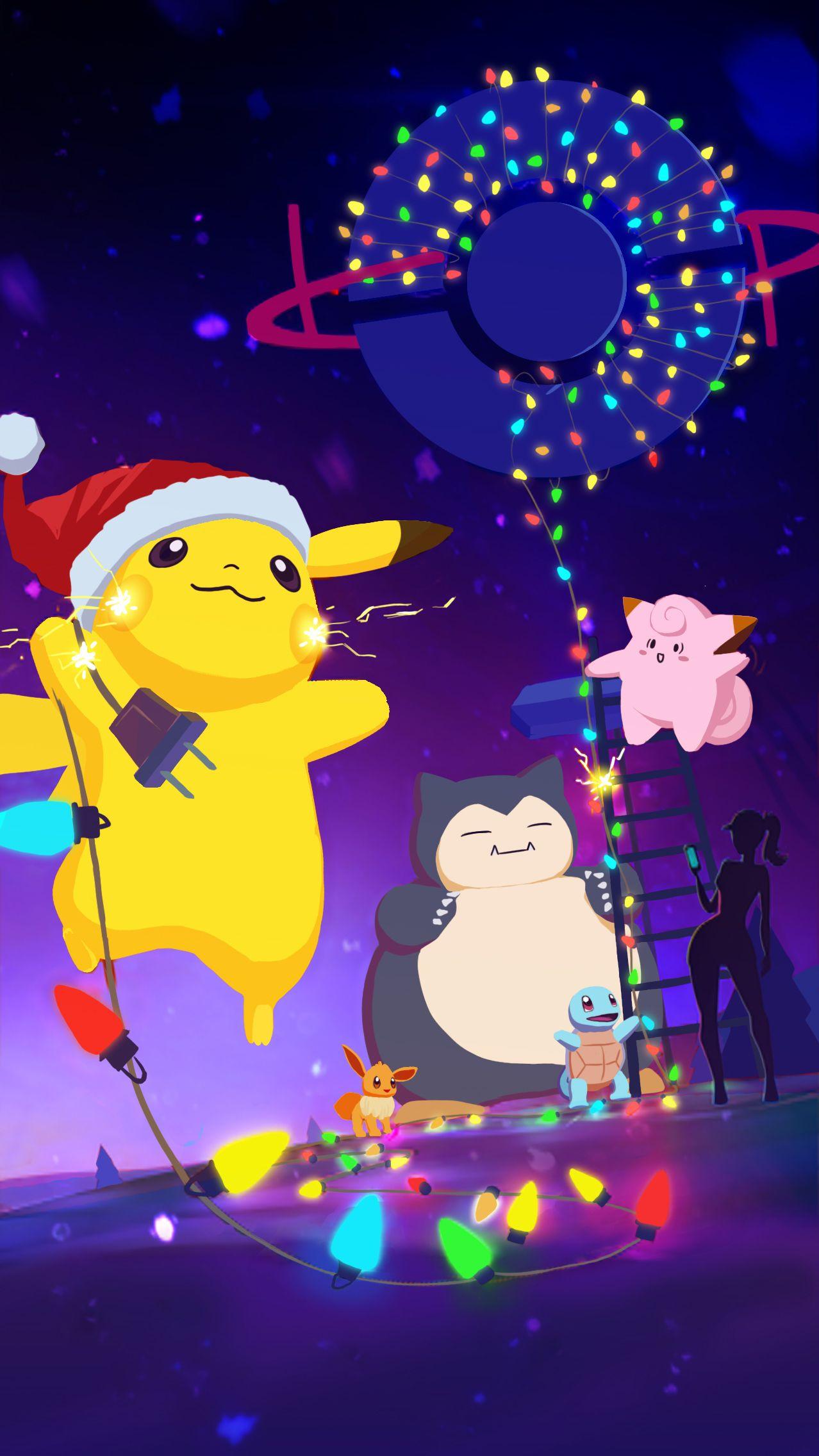 Art Repaint Of The Pokemon Go Christmas Splash Screen Christmas Pokemon Anime Christmas Cool Pokemon Wallpapers