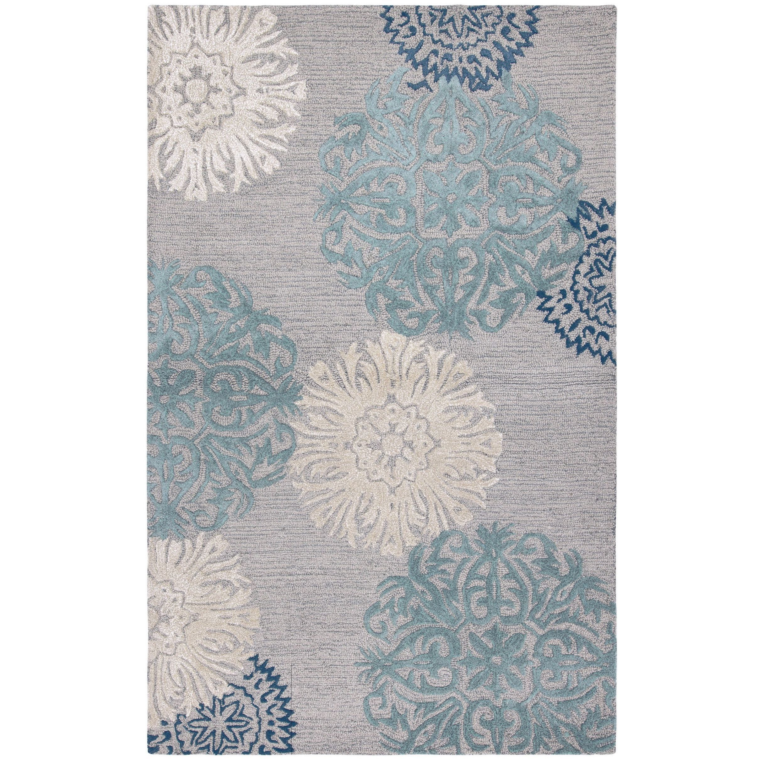 Charming Collection Light Grey Medallion Hand Tufted Wool Rug 5