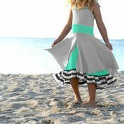 Pixie Girl Set Sail Dress in Seafoam/ Gray/ Ivory