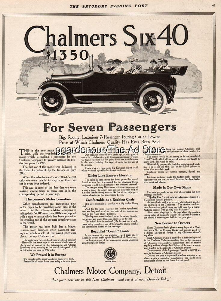 1915 Chalmers Six-40 Motor Co Detroit MI Michigan vintage auto ...