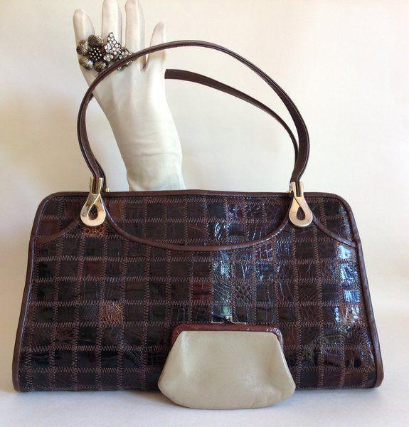 Jane Shilton Brown Turtle Skin 1960s Vintage Handbag Buff