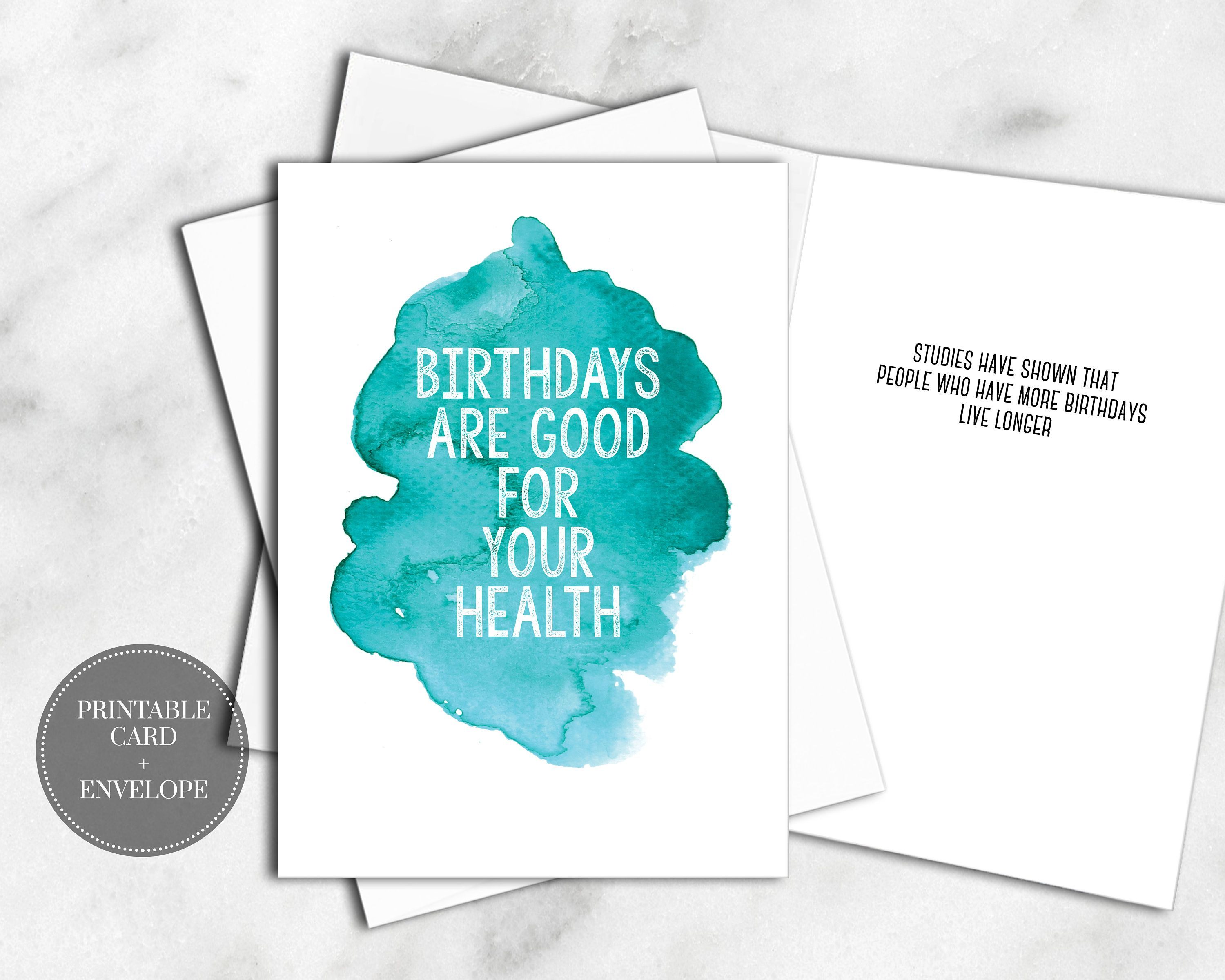 PRINTABLE Birthday Greeting Card INSTANT DOWNLOAD Digital Envelope Blue Watercolor Cute Funny Saying For Him Her Anyone Best Friend By RazorsEdgePaperie On