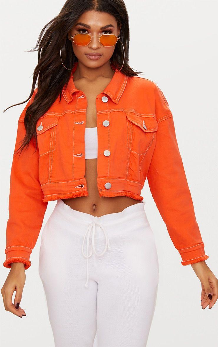 Bright Orange Cropped Denim Jacket Coloured Denim Jacket Cropped Denim Cropped Denim Jacket [ 1180 x 740 Pixel ]