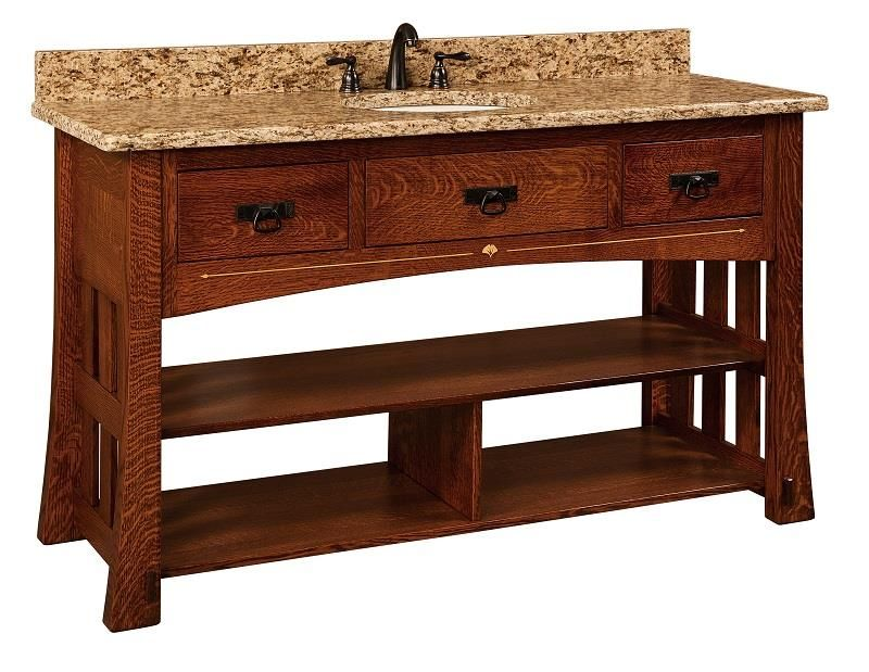 Amish 60 Marquette Mission Single Bathroom Vanity Cabinet With