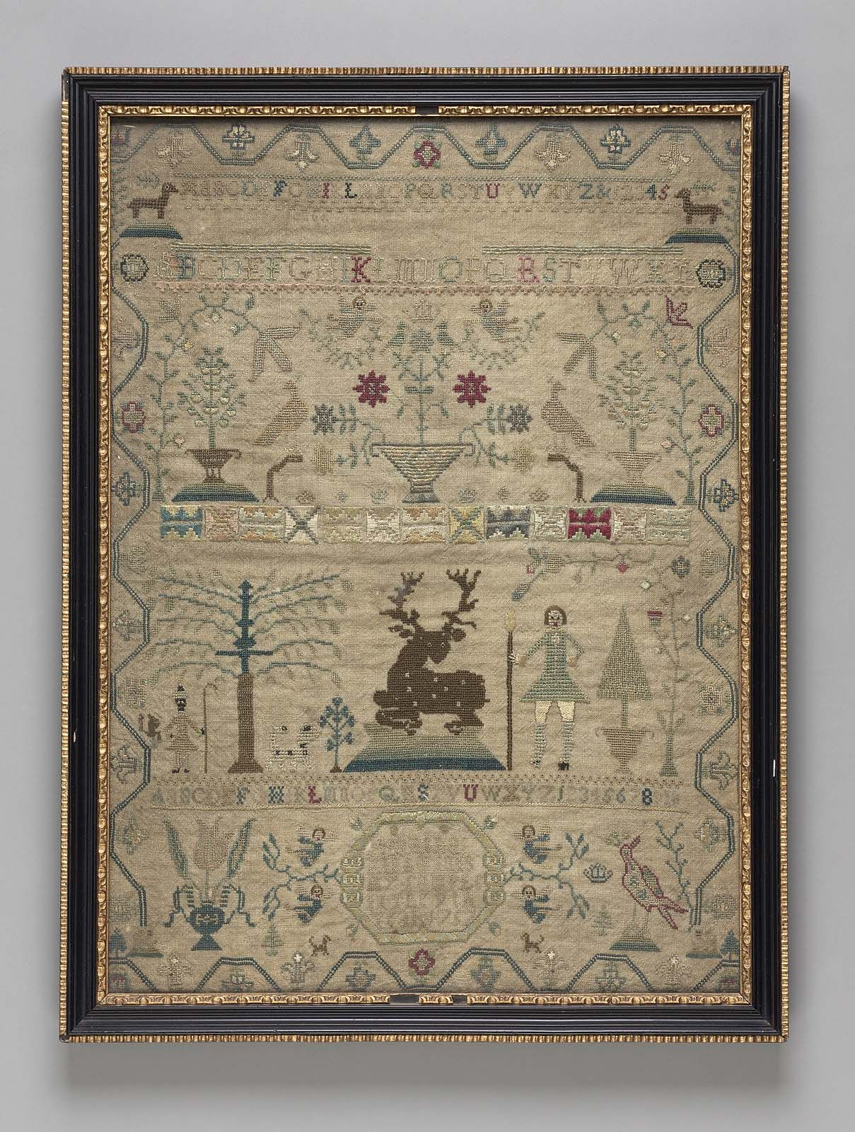 Sampler | Museum of Fine Arts, Boston - Sampler  English 1757 Embroidered by Martha King Fines (English, born in 1748 English)  Object Place, England