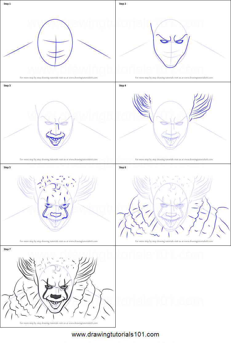 How To Draw Pennywise Face : pennywise, Pennywise, Printable, Drawing, Sheet, DrawingTutorials101.com, Drawing,, Scary, Drawings,, Halloween, Drawings