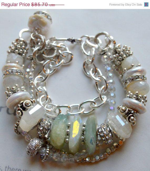 ON SALE chunky bracelet, rainbow moonstone bracelet, peruvian opal bracelet, sterling silver bracelet, multi strand bracelet, wedding