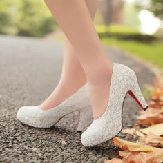 Items Similar To 2014 Spring High Heel Shoes White Lace Chunky Heels Wedding Princess Bride Club On Etsy