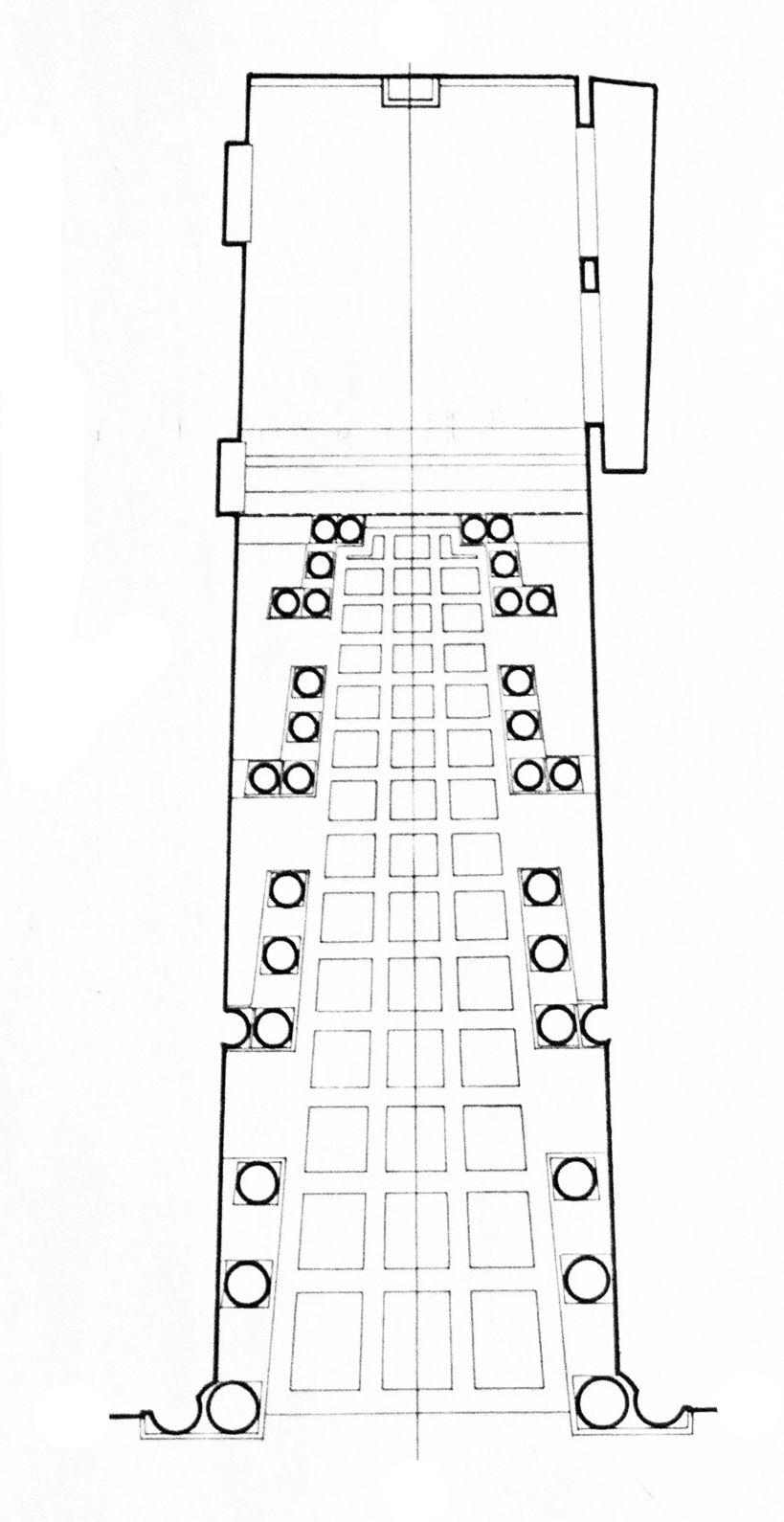 Borromini - Palazzo Spada, Rome, plan. False perspective