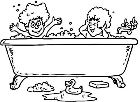 Taking A Bath Coloring Pages Personal Hygiene Worksheets Coloring Books Kids Coloring Books