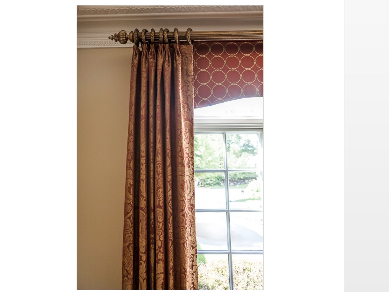 Shower Curtain With Cornice - Cornice under panel on rod with rings