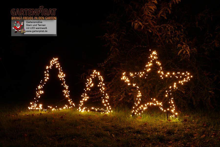 Weihnachtsbeleuchtung Aussen Motive.Gartenmotive Stern Und Tannenbaum Zur Weihnachtsbeleuchtung