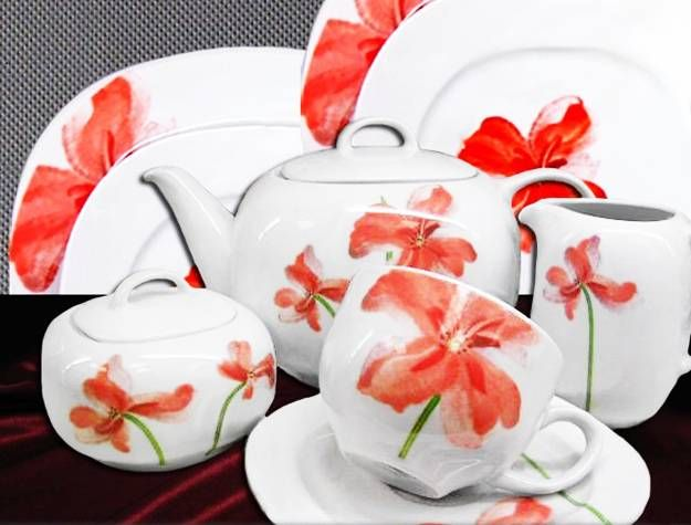 modern tableware with red poppy floral designs & Showy Dinnerware and Kitchenware with Red Poppy Flower Designs ...