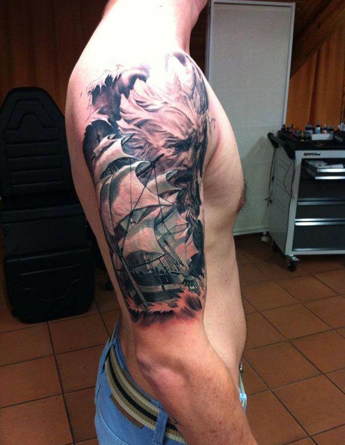 Nautical Tattoo Poseidon And Ship: Tattoo, Tatoo And