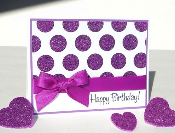 19 cards to make in one hour cards birthdays pinterest cards birthday card with purple dots and ribbon bookmarktalkfo Image collections