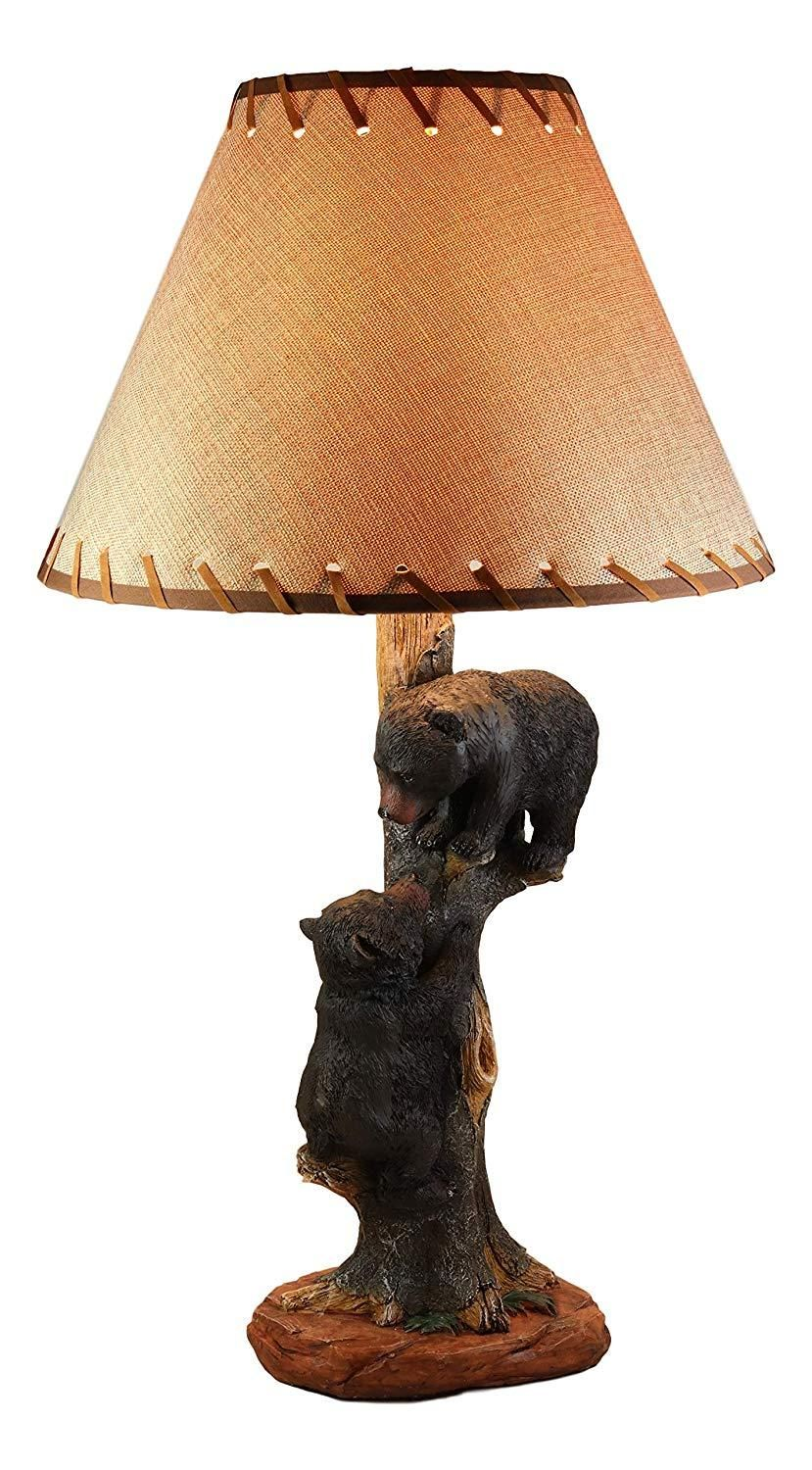 Ebros Helping Hand Whimsical Black Bear Cubs Climbing Tree Table Lamp Statue with Burlap Shade 24High Wildlife Rustic Cabin Lodge Decor Forest Bears Family Desktop Lamps #pictureplacemeant