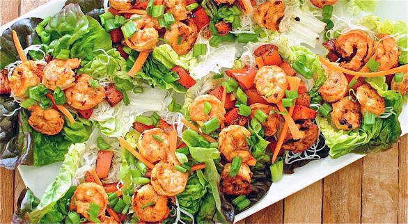 Spicy Asian Shrimp Lettuce Cups #healthy