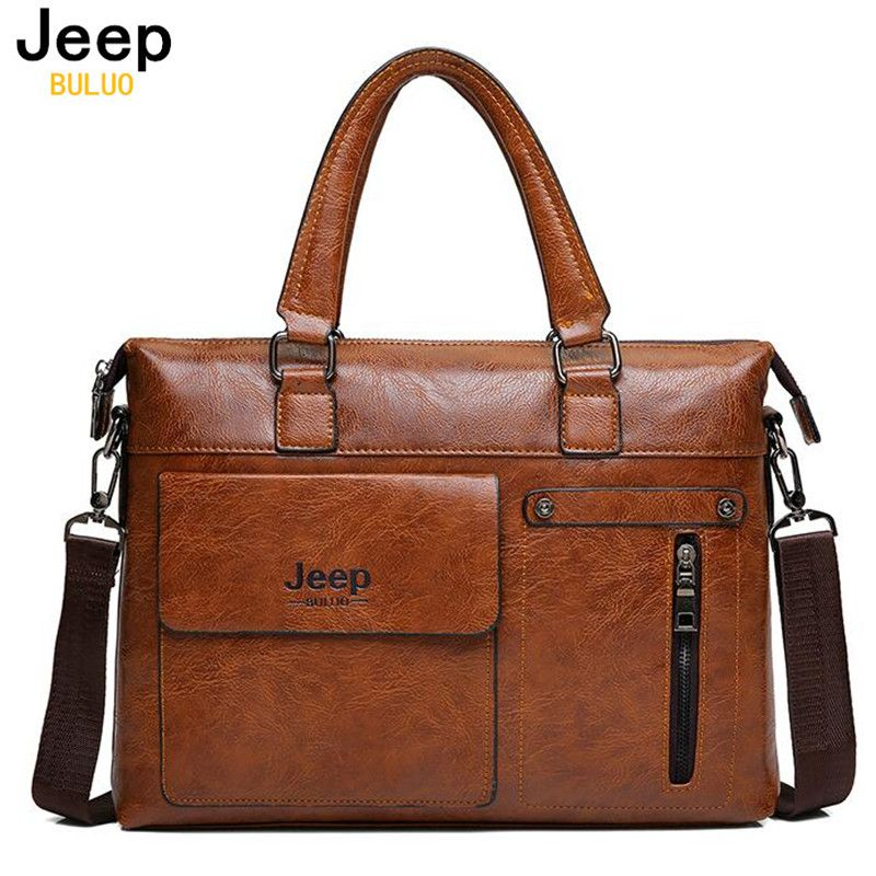 c68b3ab0ae1 Famous Designer JEEP BULUO Brands Men Business Briefcase PU Leather  Shoulder Bags For 14 Inch Laptop Bag big Travel Handbag 6013   Price    57.00   FREE ...
