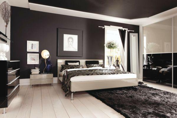 schlafzimmer wandfarbe schwarz klassische farbmischung neutral - schlafzimmer schwarz