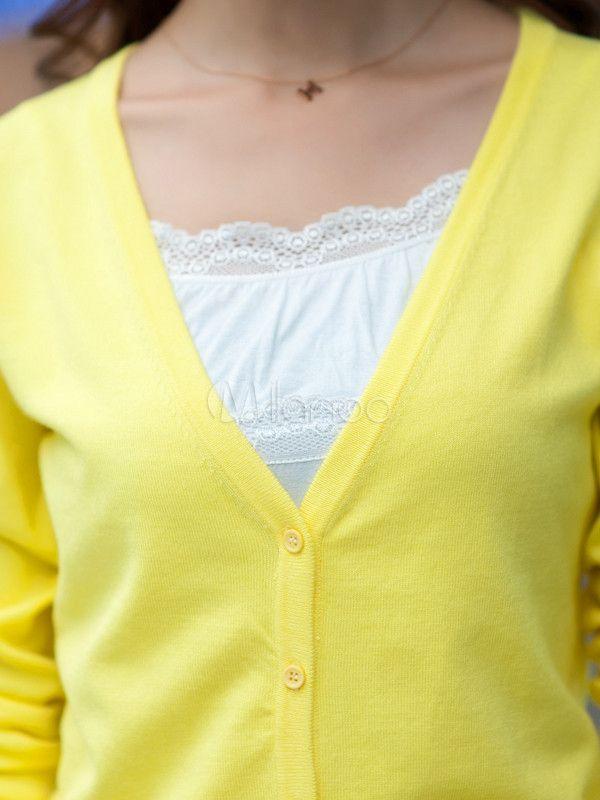 Amarillo Cardigan de mujer viscosa con cuello en v frente botón