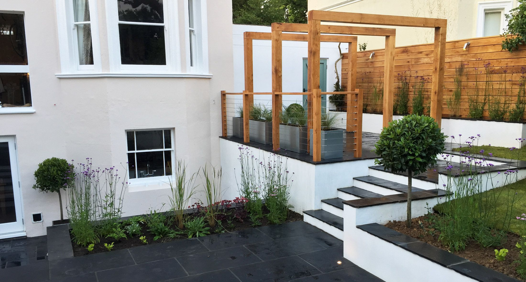 slate grey design offers a professional award winning garden design landscaping service in and