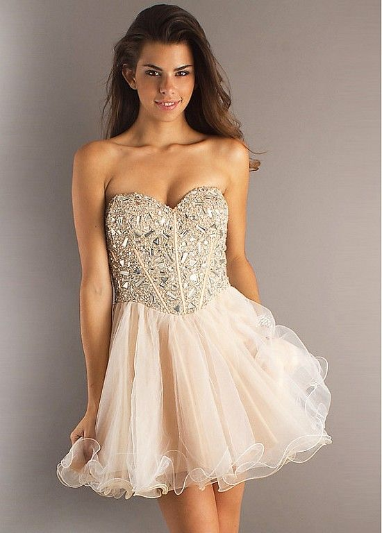 Glamorous Organza Strapless Short Prom Dress P2466