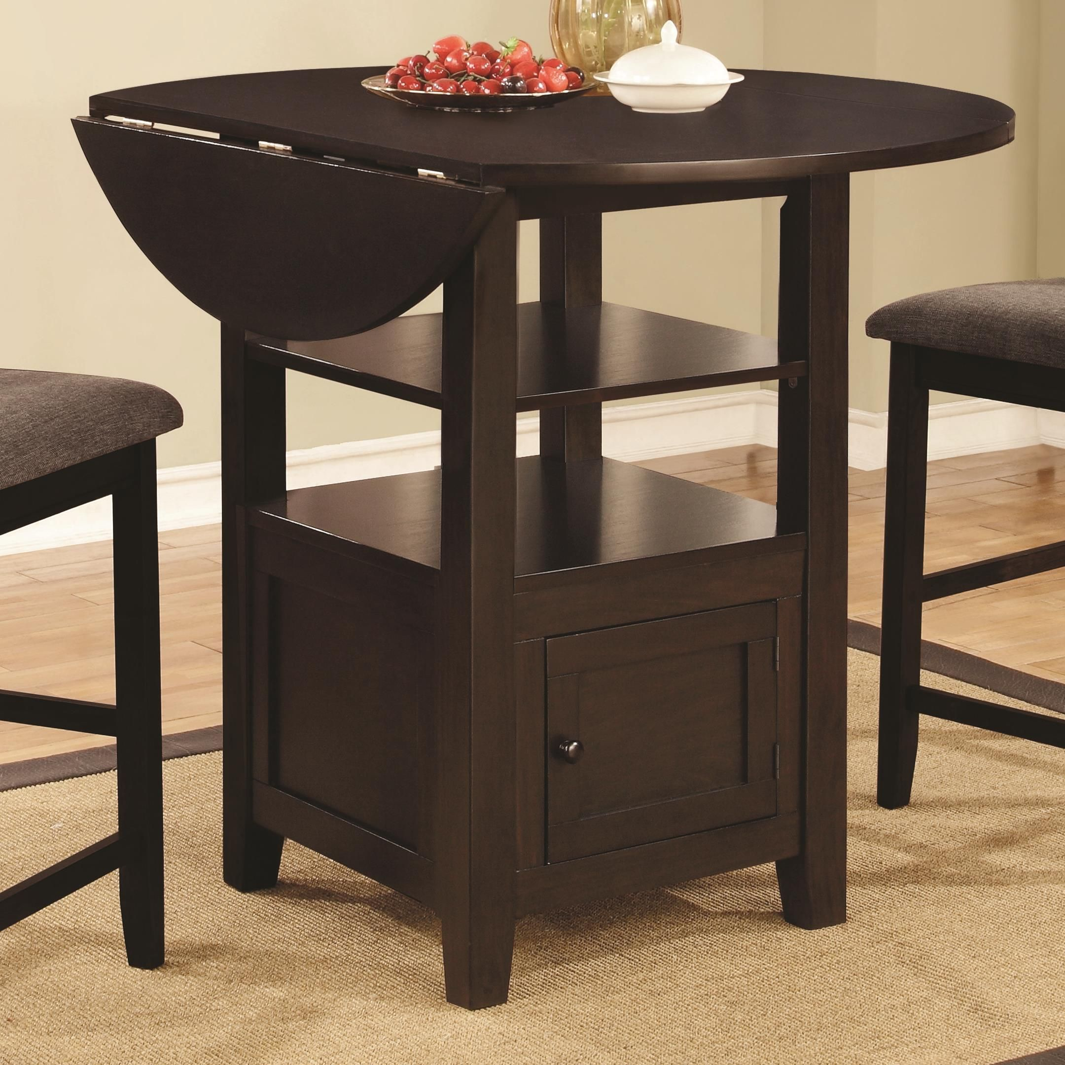 Stockton Drop Leaf Counter Height Table With Storage By Coaster At Beck S Furniture Counter Height Table Counter Height Dining Table Dining Table In Kitchen