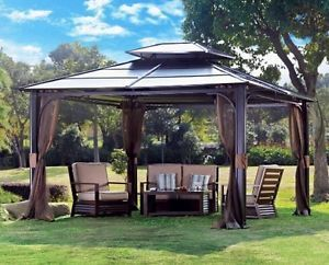 10x12 Metal Garden Gazebo Patio Awning Permanent Canopy Deck Hot Tub Spa Hardtop Backyard Gazebo Patio Gazebo Hardtop Gazebo
