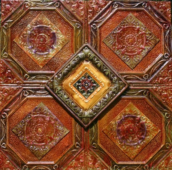 4x4 Antique Tin Ceiling Tiles 4 Way Painting