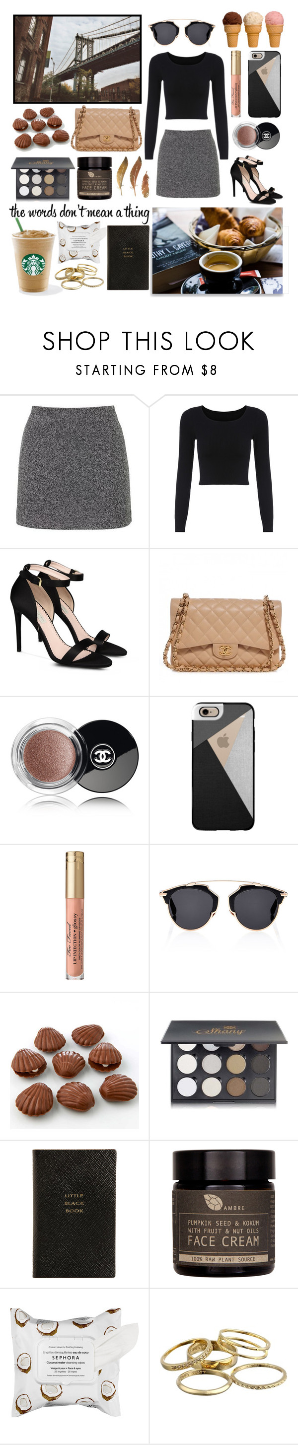 """""""Untitled #138"""" by gorgeousjuliet ❤ liked on Polyvore featuring Topshop, STELLA McCARTNEY, Chanel, Casetify, Romance Was Born, Christian Dior, Shany, Smythson, AMBRE and Sephora Collection"""