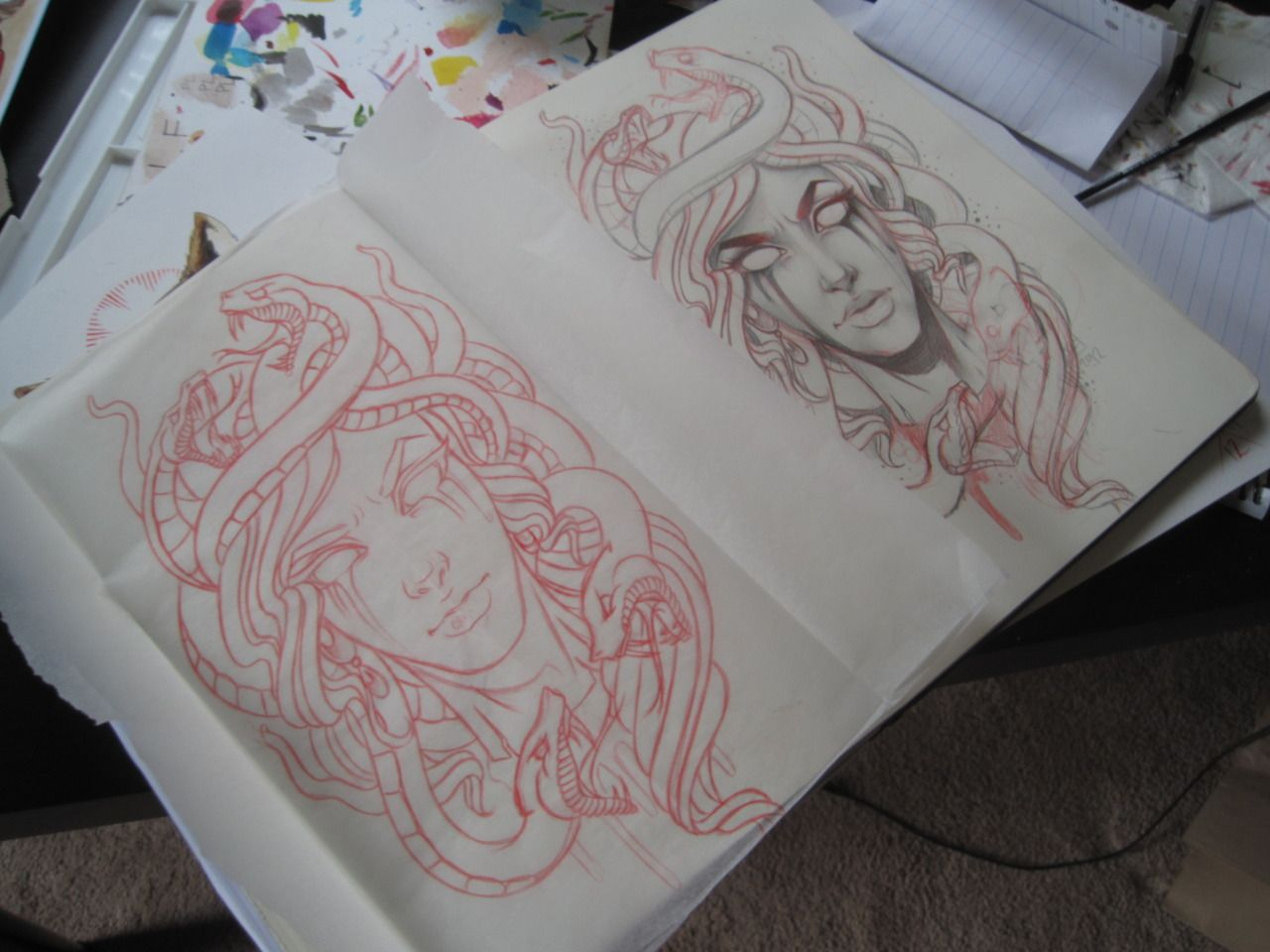 medusa sketch for a tattoo for my homie coworker wade preeeetty excited to tattoo this one. Black Bedroom Furniture Sets. Home Design Ideas