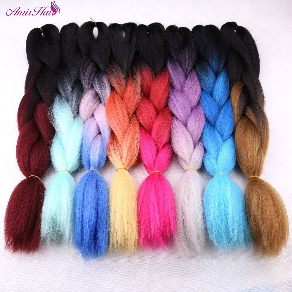 Jumbo Braids Reliable Feilimei Ombre Green Colored Crochet Hair Extensions Kanekalon Hair Synthetic Crochet Braids Ombre Jumbo Braiding Hair Extension Hair Extensions & Wigs