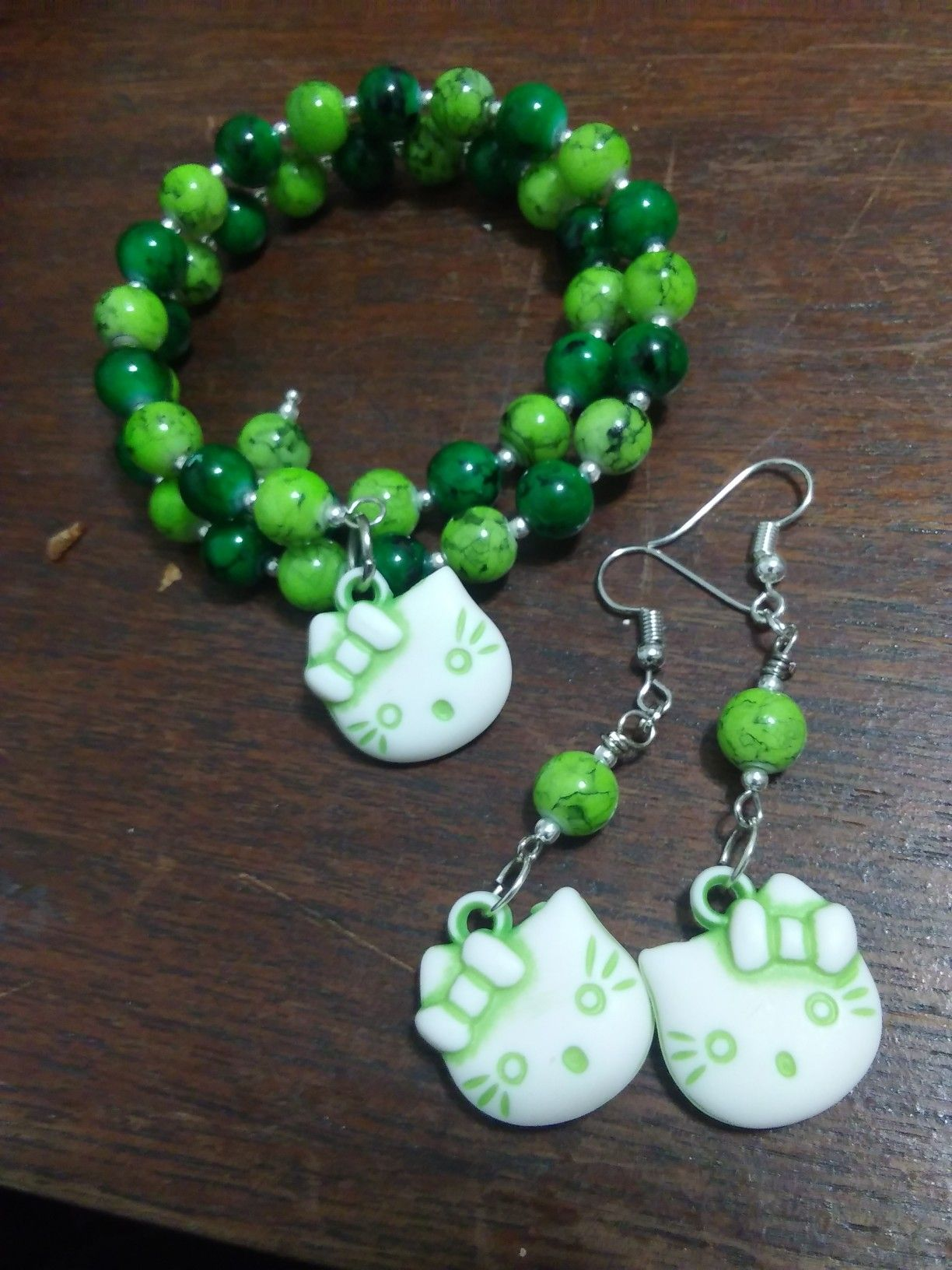 Shades Of Green Hello Kitty Memory Wire Bracelet And