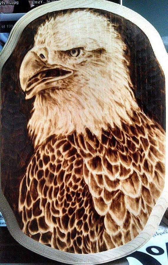 Hand-Made Bald Eagle Woodburn on Pine on Etsy, £27.87