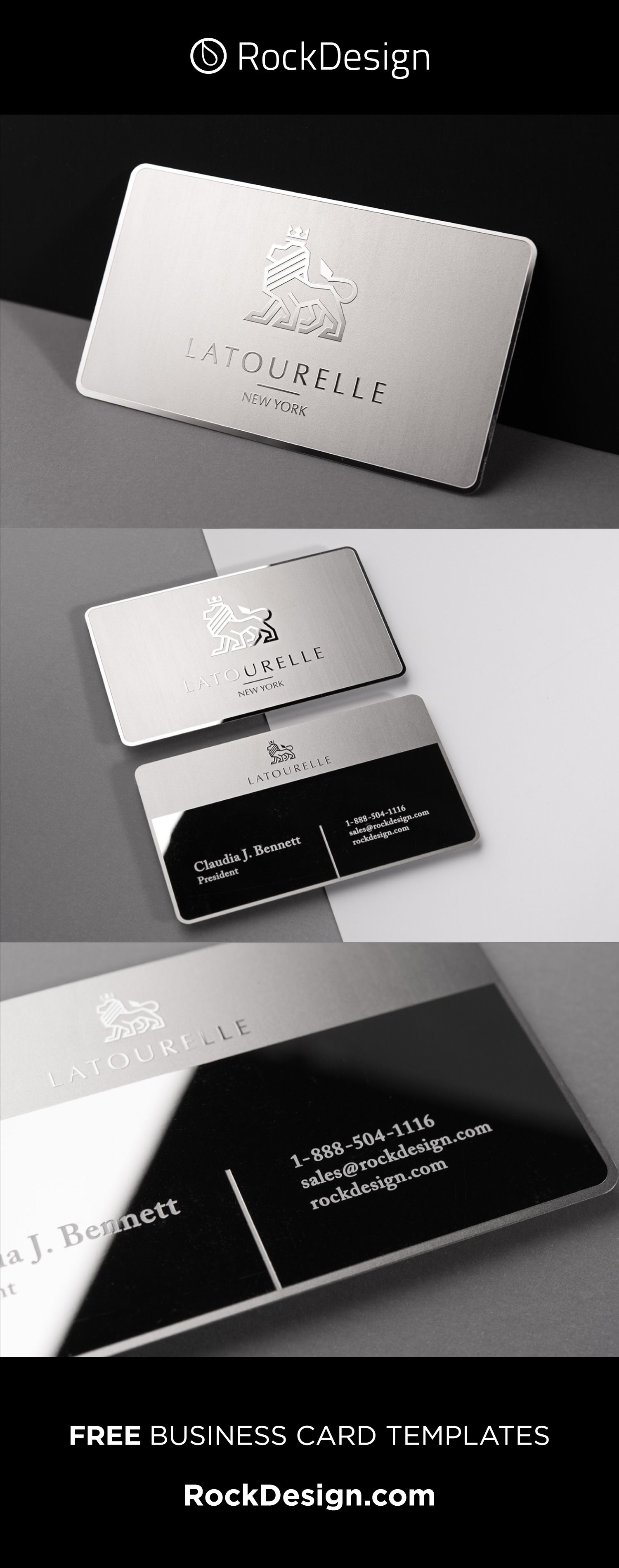 Sophisticated Modern Stainless Steel Business Card With Etching And Mirror Finish La Free Business Card Templates Lawyer Business Card Elegant Business Cards