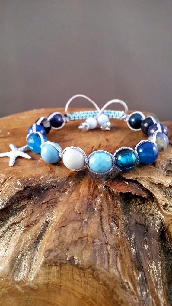 Ocean Summer Bracelet Blue Macrame Bracelet by EvelinesGarden