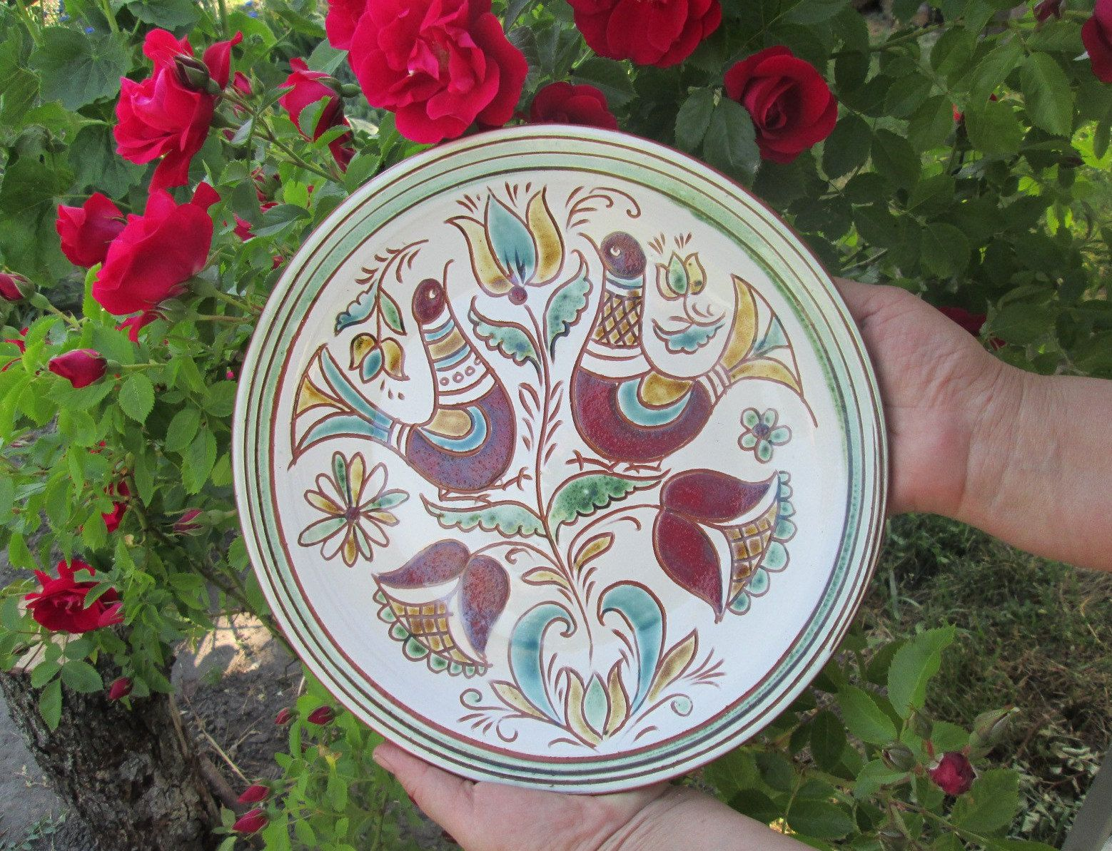 Large Decorative Ceramic Plates Ceramic Plate Pottery Wall Plate Kitchen Wall Decor Home Handmade