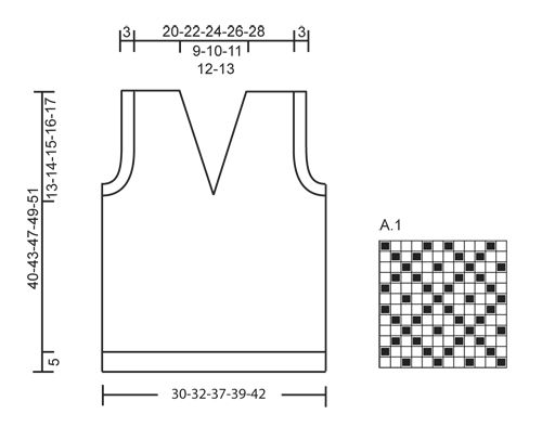 Knitted DROPS vest with pattern in