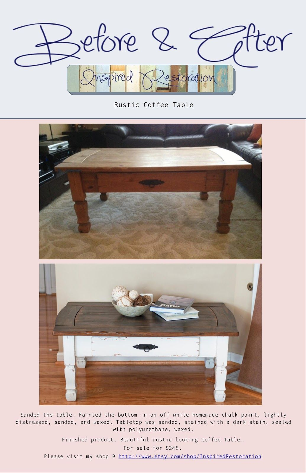 before and after rustic coffee table