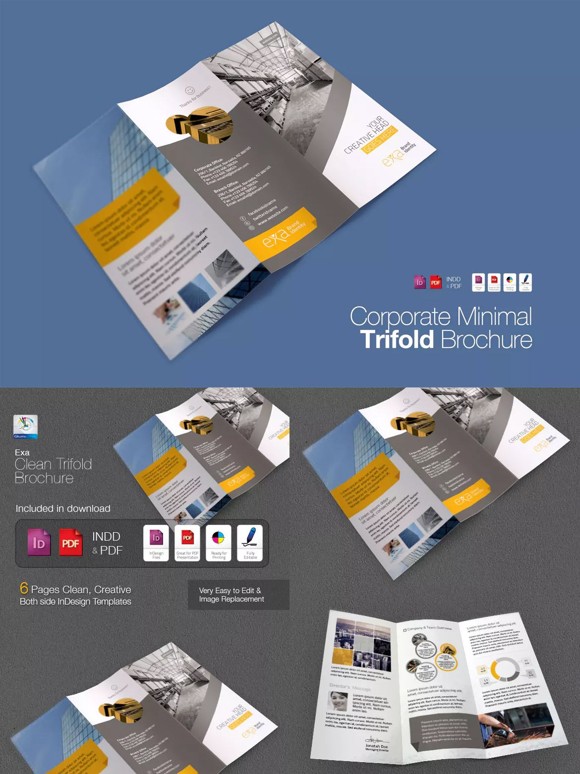 Exa | Clean & Minimal Trifold Brochure Template InDesign INDD ...