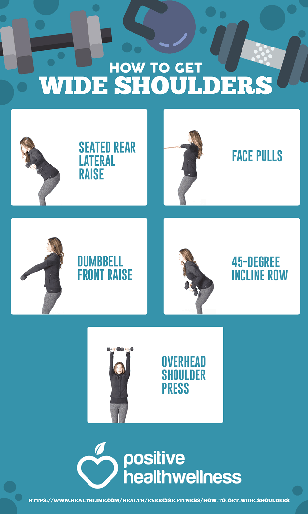 5 Exercises For Wider Shoulders Positive Health Wellness Infographic Wellness Infographic Exercise Workout