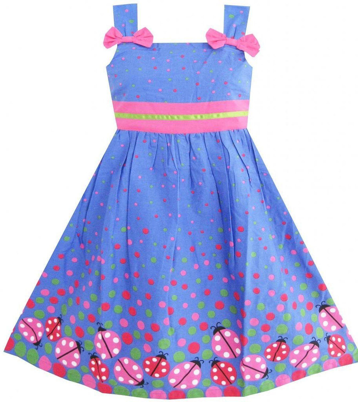 Amazon.com: Sunny Fashion Girls Dress Blue Bug Pink Dot: Playwear Dresses: Clothing