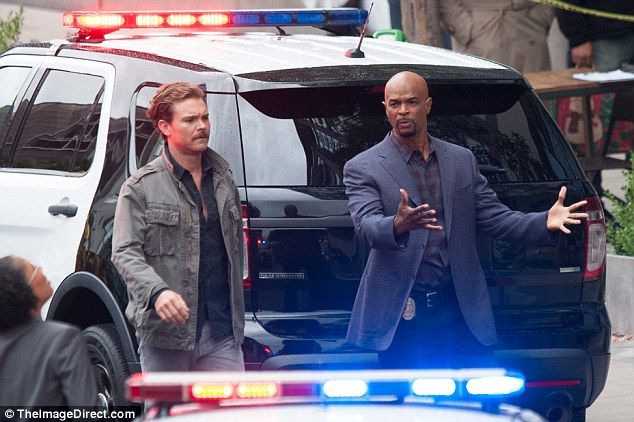 Clayne Crawford (L) and Damon Wayans (R) were spotted filming scenes for their hit TV seri...