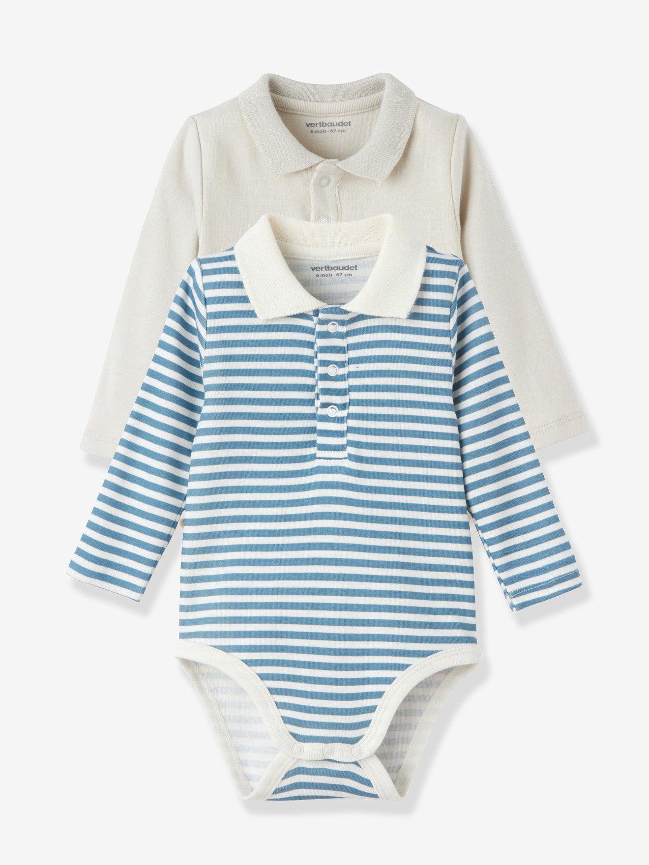 b6c5ffc826f7f Lot de 2 bodies bébé col polo gris clair+rayé - Parce que le body ...