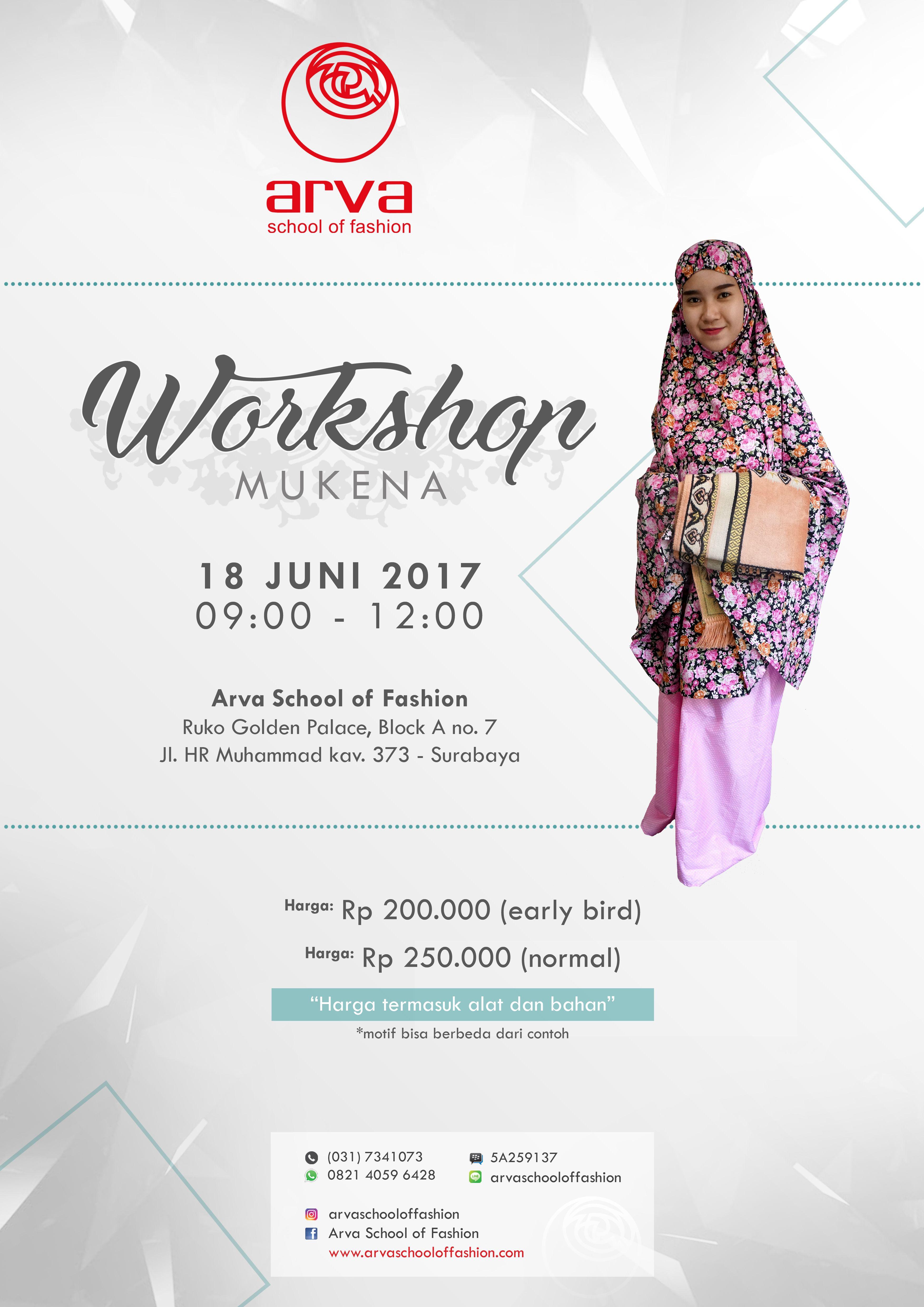 Ikuti Workshop Mukena Di Arva School Of Fashion Tanggal 18 Juni