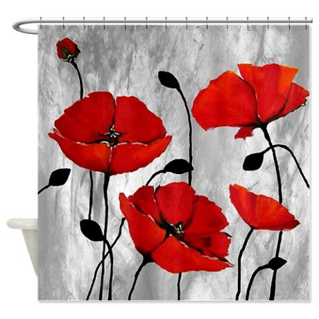 Red Poppies Shower Curtain on CafePress.com | chairs | Pinterest ...